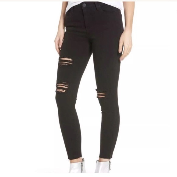 STS Blue Denim - STSBlue Ashley High Rise Skinny Black Ripped Jeans